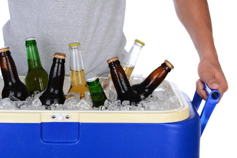 Cooler of beer bottles.