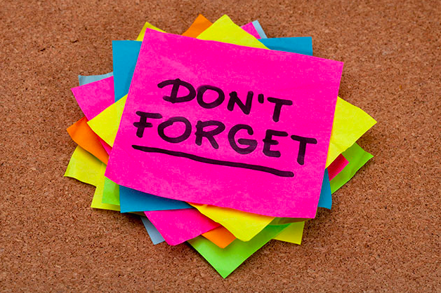 """Senior Dental Health - Colorful sticky notes marked """"Don't Forget"""""""