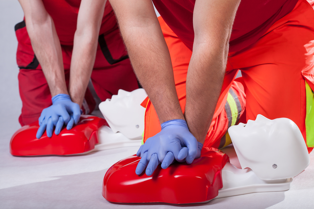 CPR Tips | First aid course on white isolated background