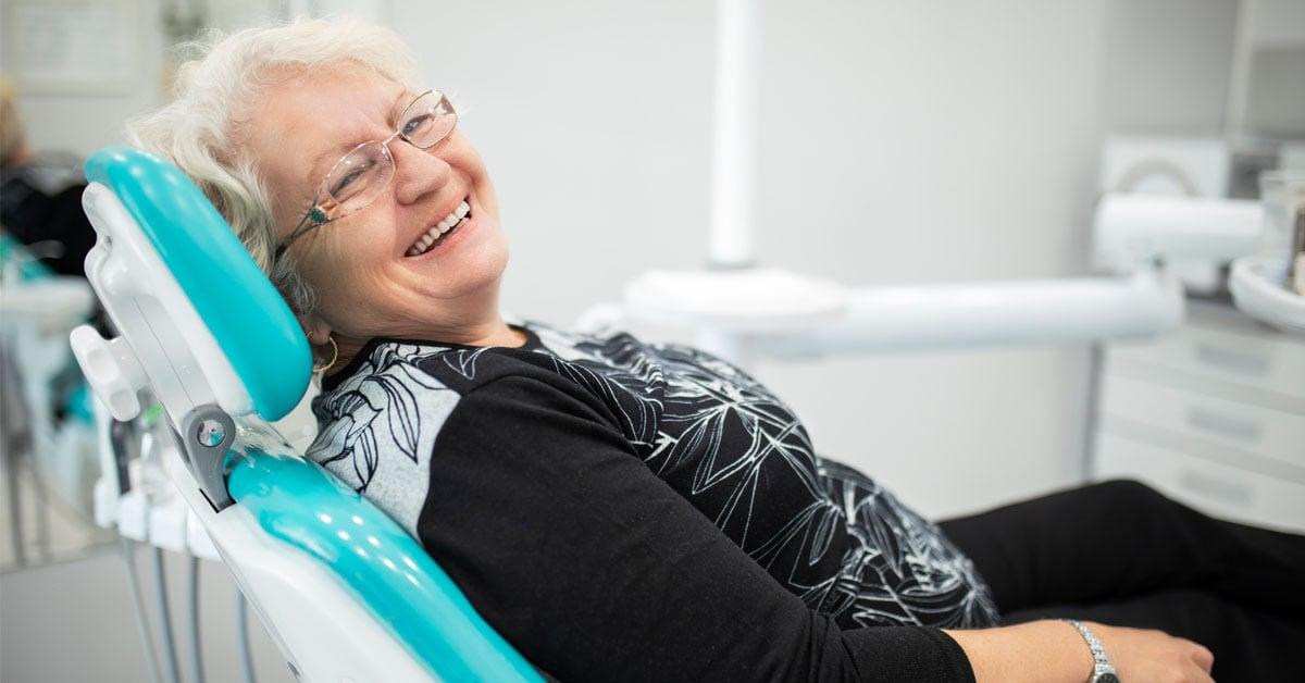 Woman in Chair - dentures